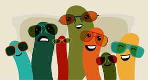 Funny characters in colorful glasses. Vector illustration Stock Photo