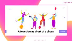 Funny Characters in Costumes for Circus Show or Entertainment. Clowns, Animators in Clown Suit, Curly Ginger Wig. And Red Nose. Website Landing Page, Web Page stock illustration