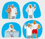 Funny characters, doctor, swimming pool, big guy vector illustration