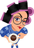 Funny characters housewife in curlers rollers and cup of coffee. Vector illustration of funny characters housewife in curlers rollers Royalty Free Stock Images