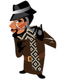 Funny characters men detective. Vector illustration of f funny characters, men detective Royalty Free Stock Images
