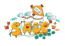 Funny characters of sale: letters fly a kite in the sky Stock Photos