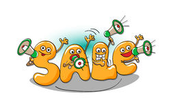 Funny characters of sale: letters  with megaphones Stock Image