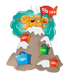 Funny characters of sale: letters at the peak of sale Royalty Free Stock Photo