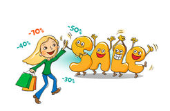 Funny characters of sale: letters with the shopping girl Royalty Free Stock Images