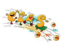 Funny characters of sale: letters skate together Stock Photo
