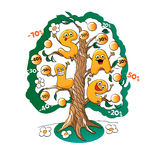 Funny characters of sale: letters on the tree of discounts Royalty Free Stock Photo