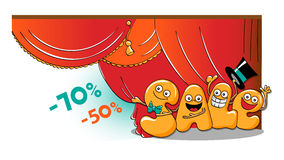 Funny characters of sale: opening sales vector illustration
