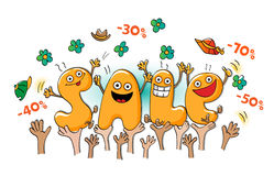 Funny characters of sale: sale celebration Royalty Free Stock Image