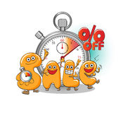 Funny characters of sale: start of sale Stock Photography