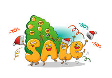 Funny characters of sale: Winter sale. Christmas sale. New year sale Royalty Free Stock Image