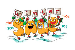 Funny characters of sale: winter sale Royalty Free Stock Image