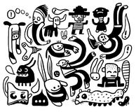 Funny characters set. A funny characters and doodles collection Stock Image