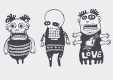 Funny characters set. Vector illustration Stock Photos