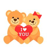 Funny characters are two teddy bears hugging and holding in their paws a big heart with the inscription I love you. The concept of vector illustration
