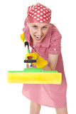 Funny charwoman with mop on white Stock Photo