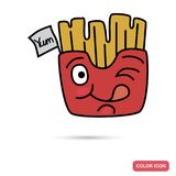 Funny chat fries potatoes smile color flat icon Stock Photos