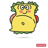 Funny chat sandwich smile color flat icon Stock Photo