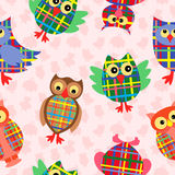Funny checkered owl seamless pattern Royalty Free Stock Photo