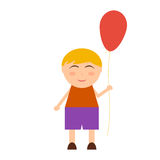 Funny cheerful boy with balloon. On white background vector illustration Stock Photos