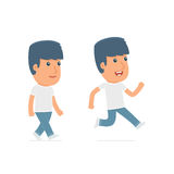 Funny and Cheerful Character Activist goes and runs. For use in presentations, etc Royalty Free Stock Photography