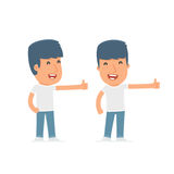 Funny and cheerful Character Activist showing thumb up. As a symbol of approval. for use in presentations, etc Stock Photo