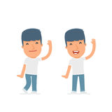 Funny and Cheerful Character Activist welcomes viewers. For use in presentations, etc Stock Image