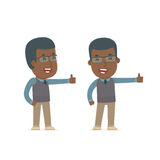 Funny and cheerful Character African American Teacher showing th Royalty Free Stock Photography