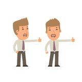 Funny and cheerful Character Broker showing thumb up as a symbol Stock Images
