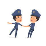 Funny and Cheerful Character Constabulary drags his friend to sh Royalty Free Stock Photography