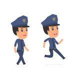 Funny and Cheerful Character Constabulary goes and runs Royalty Free Stock Photography