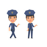 Funny and Cheerful Character Constabulary making presentation us Royalty Free Stock Image