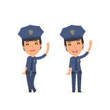 Funny and Cheerful Character Constabulary welcomes viewers Royalty Free Stock Image