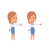 Funny and cheerful Character Consultant Girl showing thumb up as Stock Photography