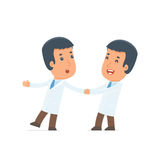 Funny and Cheerful Character Doctor drags his friend to show him Stock Images