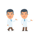 Funny and Cheerful Character Doctor making presentation using hi Stock Images