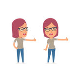 Funny and cheerful Character Girl Designer showing thumb up  Royalty Free Stock Photos