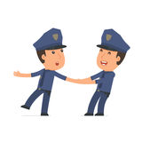 Funny and Cheerful Character Officer drags his friend to show hi Royalty Free Stock Image