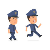Funny and Cheerful Character Officer goes and runs Royalty Free Stock Images