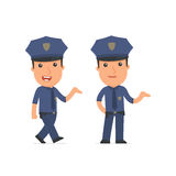 Funny and Cheerful Character Officer making presentation using h Royalty Free Stock Photos
