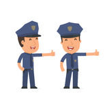 Funny and cheerful Character Officer showing thumb up as a symbo Royalty Free Stock Photos