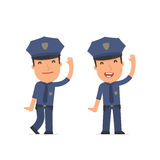 Funny and Cheerful Character Officer welcomes viewers Royalty Free Stock Images