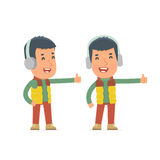 Funny and cheerful Character Winter Citizen showing thumb up  Royalty Free Stock Photos