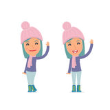 Funny and Cheerful Character Winter Girl welcomes viewers Stock Photography