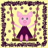 Funny cheerful pig in a dress on a swing. Flower. Abstract frame Royalty Free Stock Image