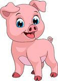 Funny cheerful piggy. Vector illustration, funny cartoon baby pig, on white background, coloring page Royalty Free Stock Photo