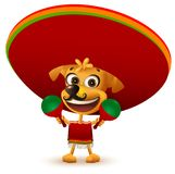 Funny cheerful yellow mexican dog in poncho and sombrero holding maracas Royalty Free Stock Photo