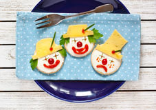 Funny cheese crackers. Royalty Free Stock Image