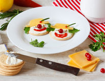 Funny cheese crackers. Stock Images
