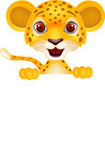 Funny cheetah with blank sign Royalty Free Stock Images